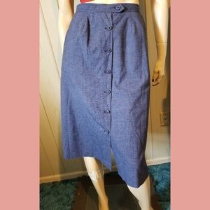 VTG Boho 70s Blue Denim Button down Aline Skirt